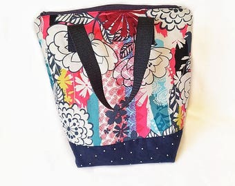 Insulated lunch bag, waterproof lunch tote, adult lunch bag, floral lunch bag, women's lunch box, lunch tote bag, reusable lunch tote