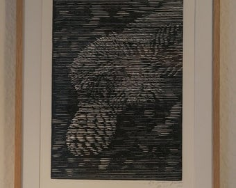 Pine Cone, relief printing, woodblock print.