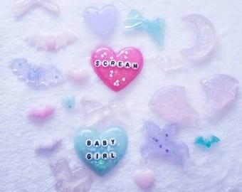 Creepy Cute Iridescent Glittery Resin Charm Cabochon piece set DIY