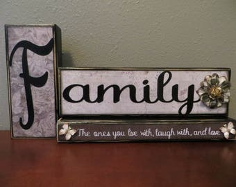 Family Mantle Love Gift Word Blocks Live Laugh Gray Paper