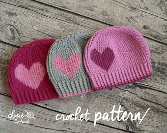 Crochet Hat PATTERN No.93 - Spring Hat Crochet Pattern, Autumn Hat, Hearts crochet hat, UNI hat pattern