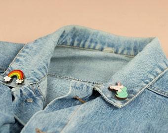 Wooden COLLAR PINS, lasercut: UNICORN and Rainbow