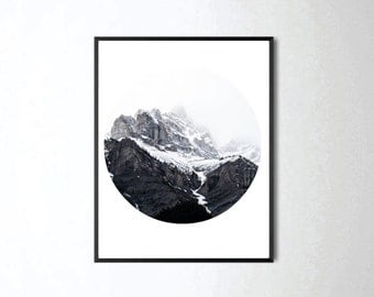 Mountain Print, Mountain Art, Mountain Wall Art, Woodland Decor, Nature Print, Landscape Print, Black and White Print, Circle Print, Rustic