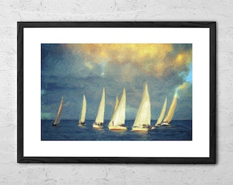 On a Day Like Today - Impressionist Painting - Sailboat Painting - Seascape - Nautical Decor - Coastal Wall Art - Ocean Print - Sailing Art