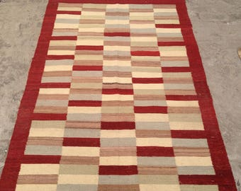 ARTICLE # 6005 Special High Quality Stripped Hand Made Wool Kilim Rug 180 x 119 CM ( 5.9 x 3.9 Feet)