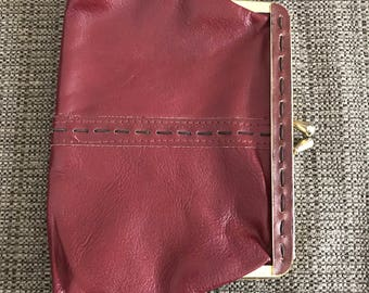 Red Leather Coin Purse Vintage Roger Gimbel Accessories