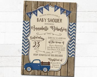 Boy Baby Shower Invitation Navy Blue Rustic Truck Chevron Burlap Bunting Banner Barn Wood Vintage Retro Printable Digital Customized For You