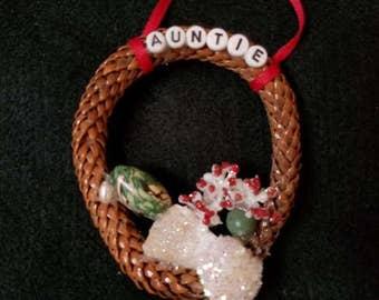 Decorative ornament - Sea shell ornament - freshwater pearl - Auntie ornament - pinecone ornament - Holiday Christmas ornament -aunt