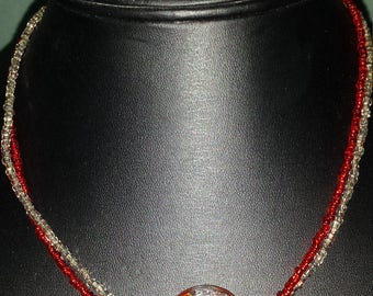 Red and silver choker