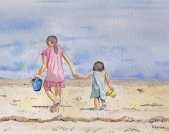 Day at the Beach, original watercolor painting, sisters, framed painting