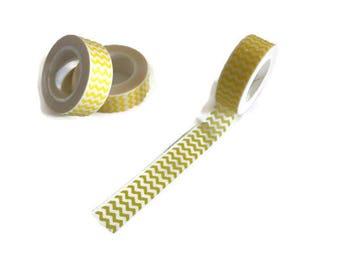 Yellow zigzag print washi tape, Yellow chevron print washi tape