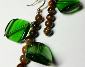 Leafy Branch earrings green brown stone GuardianGraphixx