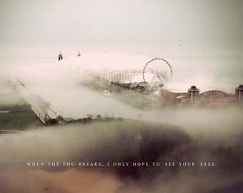 Chicago Photography, Navy Pier, Ferris Wheel,  Fog, Love Poem, Art Print