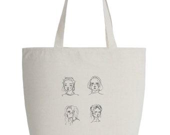 Women Portraits Zippered Cotten Bag