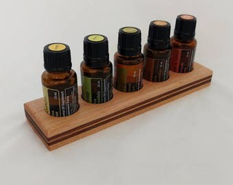Essential Oil Tray - Wooden Essential Oil Holder - Fits 5 Young Living & doTERRA Oils - Small Oil Rack