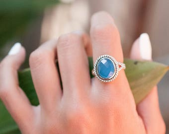 Blue Chalcedony Ring ~ Statement ~ Handmade ~ Gemstone ~ Solitaire ~ Braided Band ~ Thin Band ~ Faceted ~Hippie ~ Gypsy ~ Gift For Her~MR042