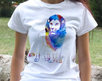 Lion T-shirt - animal tee - Fashion women's apparel - Colorful printed tee - Gift Idea