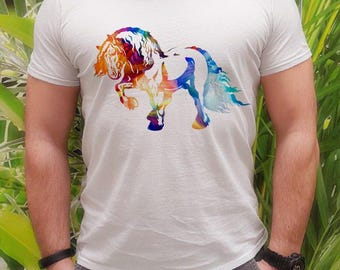 Horse t-shirt - Horse tee - Fashion men's apparel - Colorful printed tee - Gift Idea