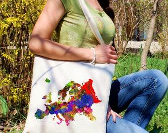 Europa tote bag -  Map shoulder bag - Fashion canvas bag - Colorful printed market bag - Gift Idea