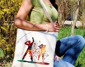 Party people tote bag -  Dance shoulder bag - Fashion canvas bag - Colorful printed market bag - Gift Idea