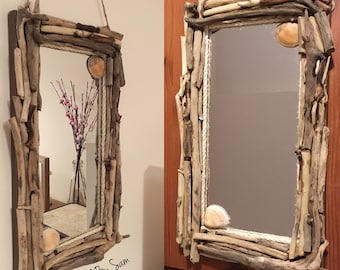 Stunning driftwood, seashell and rope mirror. Nautical, bathroom, quirky, beach, seaside decor