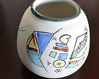 Small Vintage 1960s Hand-Painted Vase