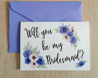 Be my Bridesmaid Card, Wedding and Engagement Card, Greeting Card