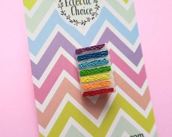 Rainbow Cake pin Badge ,  Lapel pin , kawaii , magical , fun , sweets , sweetie  , wedding cake , birthday cake , colorful