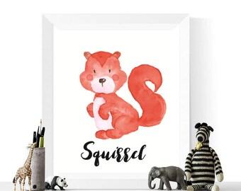 Squirrel Printable | Squirrel Watercolor Printable | Woodland Animals | Watercolour | Animal Print | Squirrels