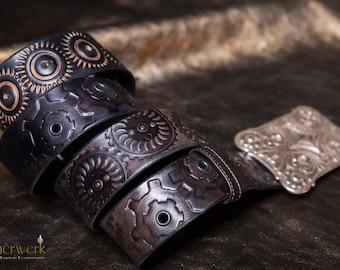 Steampunk Leatherbelt black, Size: 93-116cm