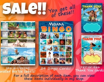 Moana Party Supplies! Moana Bingo; Moana Water Bottle Lables; Moana Thank You cards!  Sale!!!