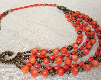 Five row necklace, natural orange coral, metal beads bronzes color