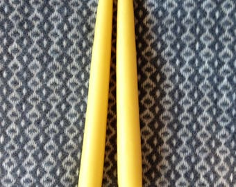2- Eight-inch hand dipped beeswax candles.