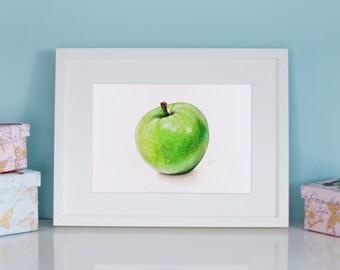 Apple Art Print, Green Apple, Granny Smith, Realistic Art, Wall Decor, Kitchen Art