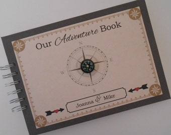 Personalised Our ADVENTURE BOOK Guest Book Photo Album Scrapbook Travel Gift Memories Romantic Gift Personalised Anniversary Gift Compass
