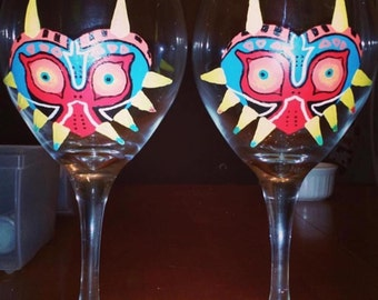 Majoras mask wine glasses