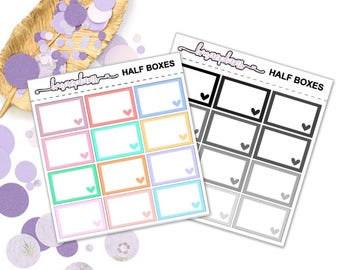Half Boxes Pastel / Neutral - planner stickers functional happy planner erin condren