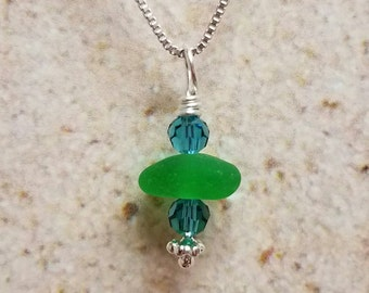 Lake Erie Beach Glass Necklace- FREE SHIPPING!