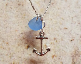 Sterling Silver Anchor and Blue Sea Glass Necklace- FREE SHIPPING!