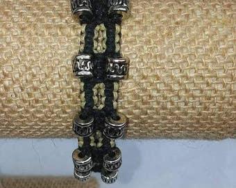 Black and Natural Hemp - Men's Bracelet - Men's Braided Bracelet - Hemp Bracelet - Beaded Bracelet - Men's Jewelry - Hemp Jewelry - Hemp
