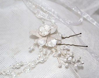 Handmade Crystal Pearl Hair Vine Tiara Halo style Bride Bridesmaides with Hand crafted Flower head pin