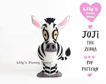 Zebra Sewing Pattern - Felt PDF pattern--Instant Download- Felt Hand Sewing Pattern- DIY -Plush Felt Pattern - Softies Pattern