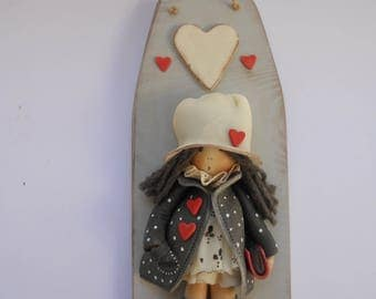 3D DOLLY doll - on wood