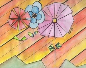 Pinwheel Flowers - 5x7 print