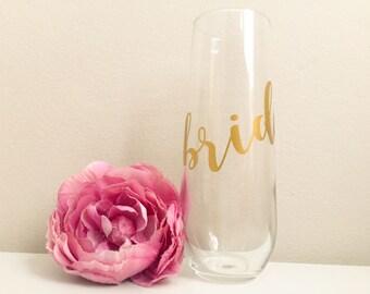 Bride Champagne Glass, Bride Champagne Flute, Bride Stemless Champagne Flute, Bride to be champagne, Stemless Champagne Flute