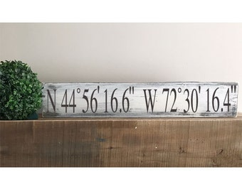 """GPS Coordinates Sign- Housewarming Gift - Wedding Gift - Rustic Sign - Longitude and Latitude -Distressed Sign -Farmhouse 24"""" x 4 1/2"""""""" Sign"""