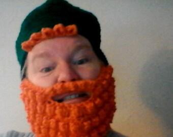 Crochet leprechaun beard and beanie set.. Fun and funny