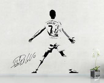 Ronaldo wall sticker etsy for Cristiano ronaldo wall mural