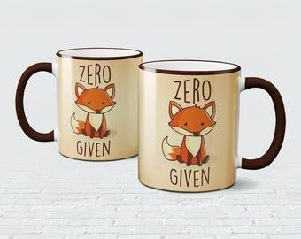 Zero Fox Given Mug Coffee Tea Cup Funny Gift Swearing Animal Pet Cute Drinkware For Fox Sake