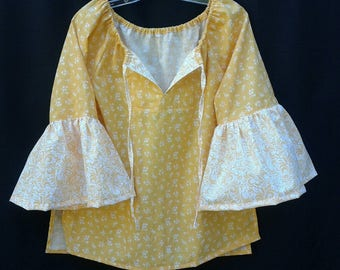 Women's Sunflower Yellow Peasant Blouse -        Size S/M  100% Cotton.  MADE IN USA.